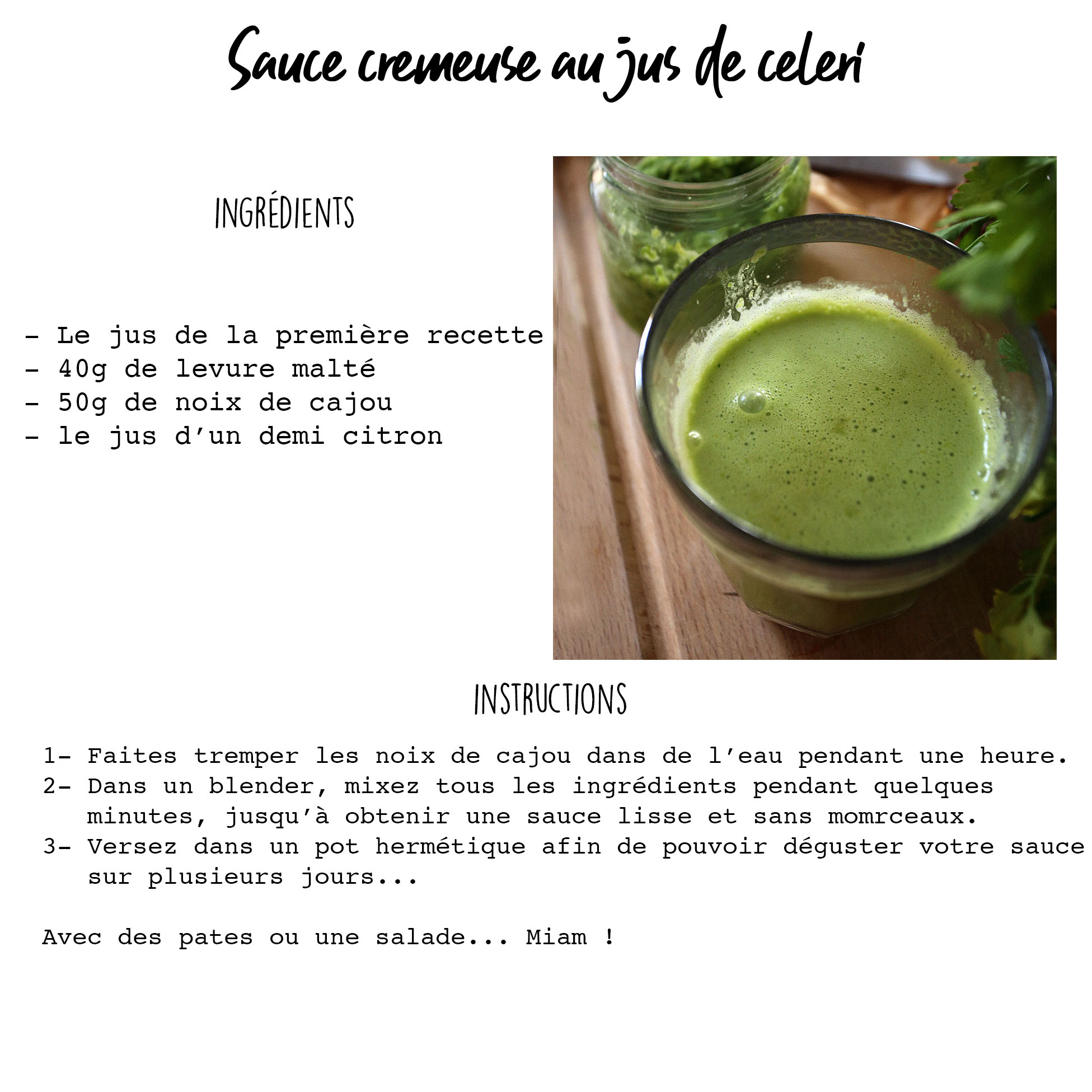 Recette- Sauce crémeuse céleri